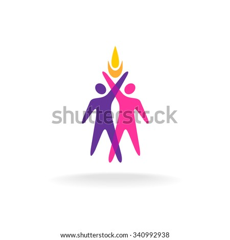 Two people logo with hands up and fire symbol. Overlay colorful style. - stock photo