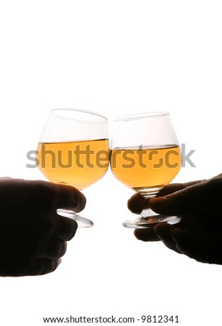 Two people making a toast with glasses against white background - stock photo