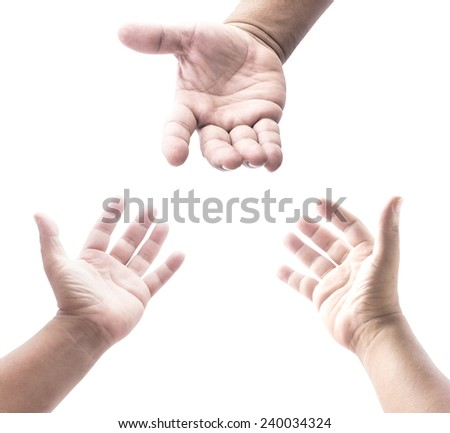 Two people open empty hands with palms up over white background. - stock photo