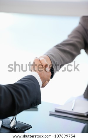 Two people shaking hands in an office - stock photo
