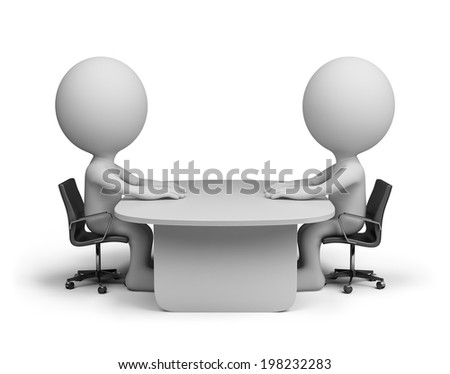 Two people sitting at the table talking. 3d image. White background.