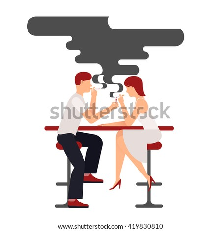 Two people smoking, illustration plane isolate on white background smokers man and woman sitting at the table, a lot of black smoke over the pair, a date in a bar in the smoking compartment