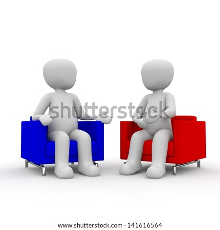 Two people talk to each other about an interesting topic. - stock photo