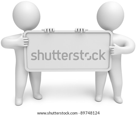 two people with an empty signboard in hands, 3d render