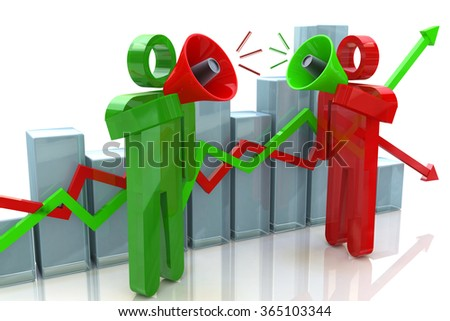 Two people with megaphone and business chart with the design information related to business and economy - stock photo
