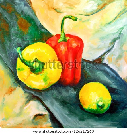 two pepper red and yellow and green yellow lemon green-blue cloth painted with oil paints on canvas - stock photo