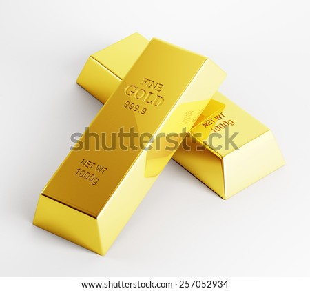 Two perfect gold bars on white background 3d render - stock photo