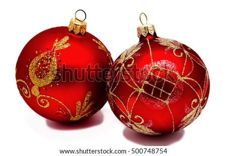 Two perfect red christmas balls isolated on a white background