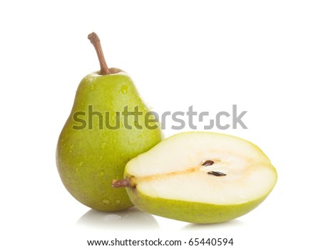 Two perfect wet pears on white background - stock photo