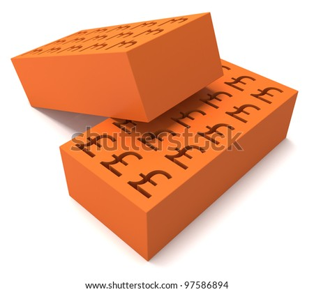 Two perforated bricks with a pound sign on white backgound - stock photo