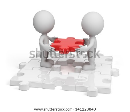 Two person inserting last piece of the puzzle. 3d image. White background. - stock photo