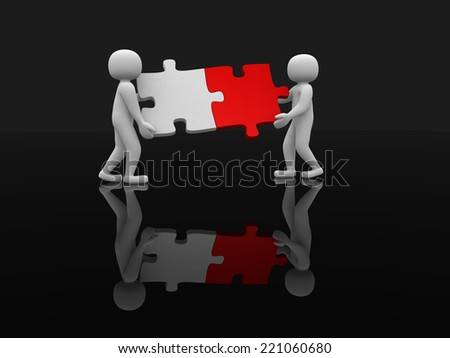 Two person matching puzzle pieces - 3d render illustration - stock photo