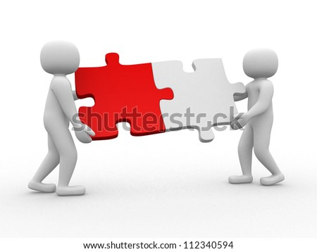 Two person matching puzzle pieces - this is a 3d render illustration - stock photo