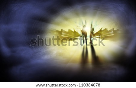 Two Persons are on the way to eternal life - stock photo