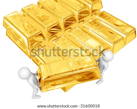 Two persons hold big gold ingot. Isolated on white.