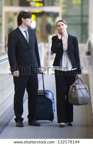 two persons on business trip - stock photo