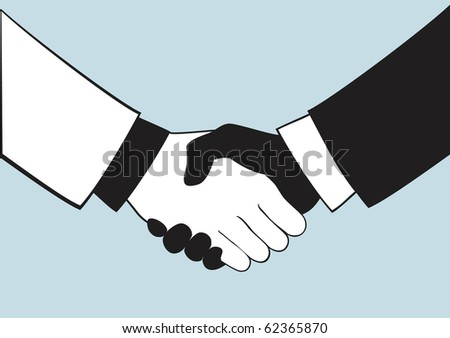 Two persons shrug each other hands