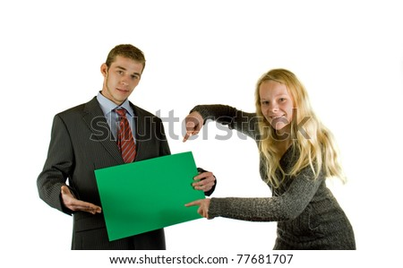 two persons whith a board - stock photo