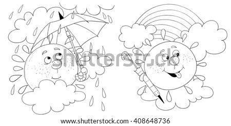 Two Pictures Of A Cute Sun With Umbrella In Rainy Weather And After The Rain