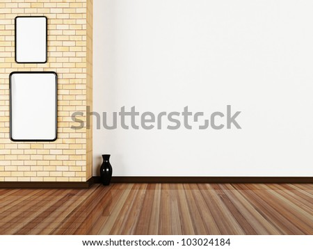 two pictures on the wall in the room, minimalism - stock photo