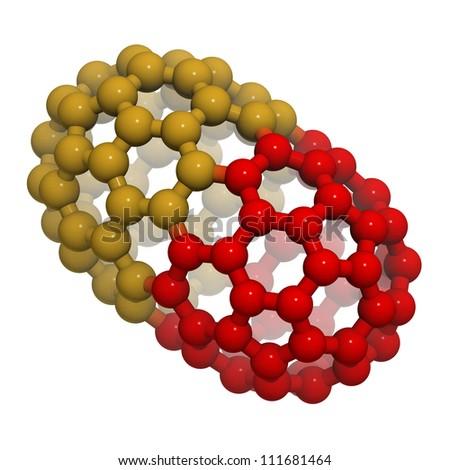 Two-piece nano-capsule (fantasy), resembling a capped carbon nanotube. - stock photo