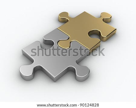 Two pieces metal puzzle - stock photo
