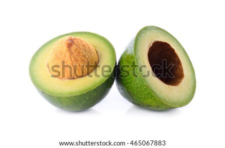 Two pieces of avocado isolated on white background.