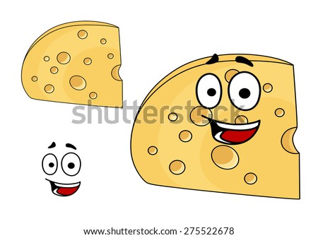 Two pieces of cheese with holes, one with a happy smiling face and the other plain with the face element separate, isolated on white - stock photo