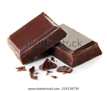 Two pieces of dark chocolate isolated on white background - stock photo