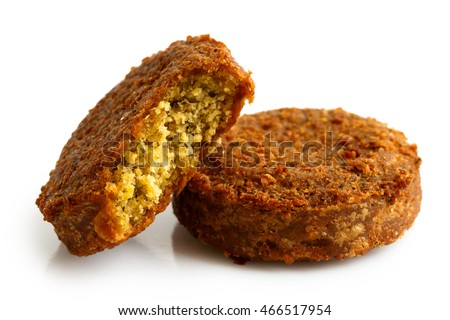 Two pieces of falafel isolated on white.