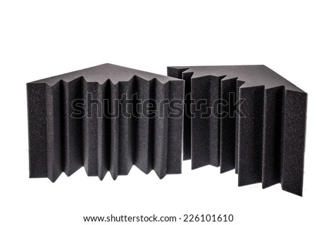 two pieces of microfiber foam insulation for noise in the corners of the music studio or acoustic halls , rooms or houses , professional studio insulation material , noise isolation - stock photo