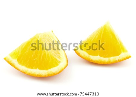 two pieces of orange isolated on white