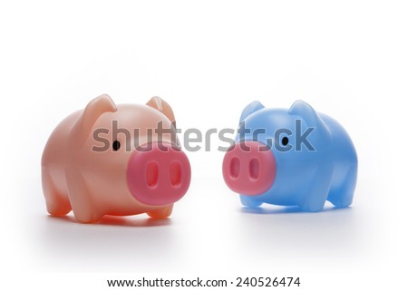 Two pig plastic blue and pink coin bank(money box) isolated white at the studio.