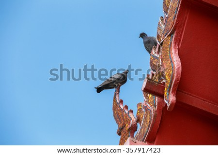 Two pigeons perched on a gable apex of Thai temple.