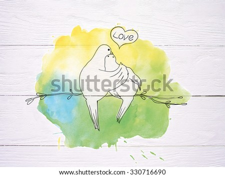 two pigeons sitting on the branch and kissing on wood  and watercolor background