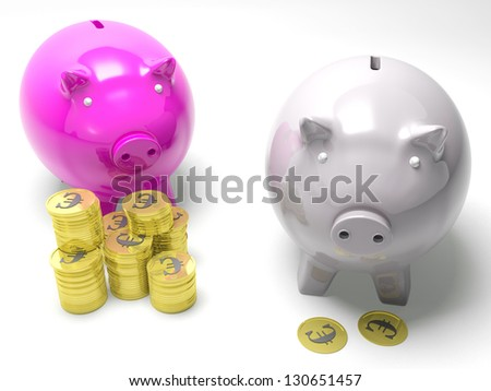 Two Piggybanks Savings Showing European Wealth And Poverty Rates