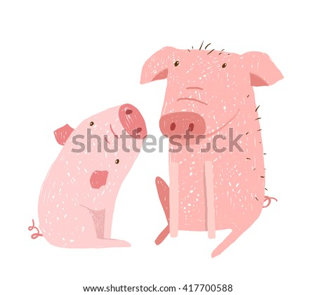 Two Pigs Parent and Child Cartoon, Two domestic animals childish hand drawn illustration. Raster variant. - stock photo