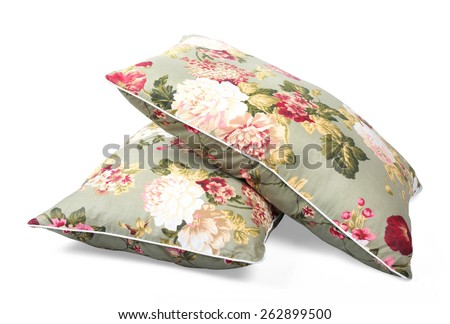 Two pillows flowered isolated - stock photo