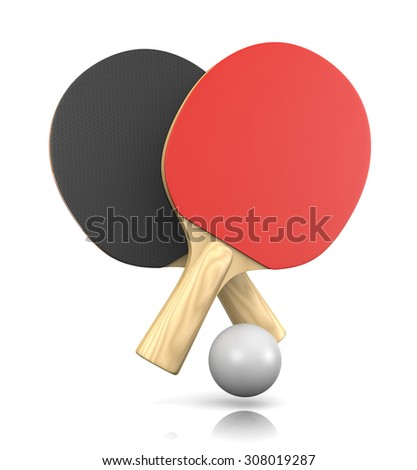Two Ping-Pong Bats and One Ball 3D Illustration on White Background