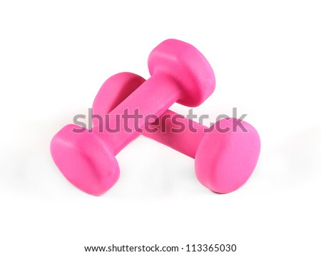 Two pink glossy dumbbell isolated on white