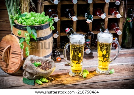 Two pints of homemade beer - stock photo