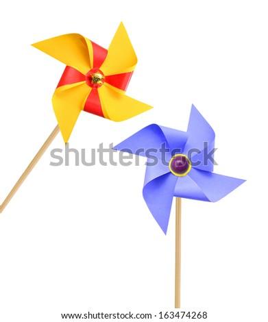 Two Pinwheels on white background  - stock photo