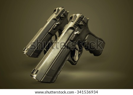 two pistol gun on the green background