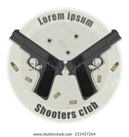 Two pistols and bullets emblem on stone background with bullet holes - stock photo