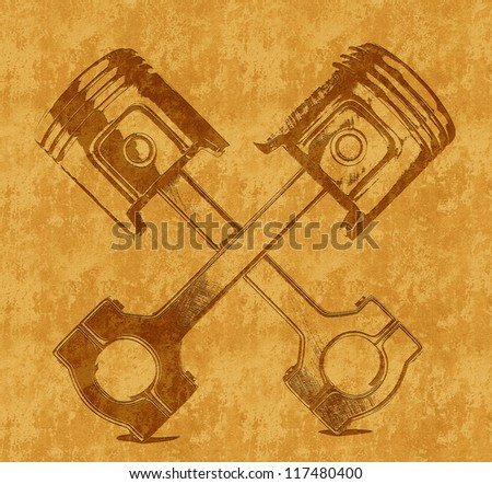 two pistons isolated on a yellow background - stock photo