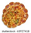 Two pizzas isolated on white. - stock photo