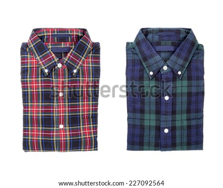 Two Plaid Shirts Isolated on White