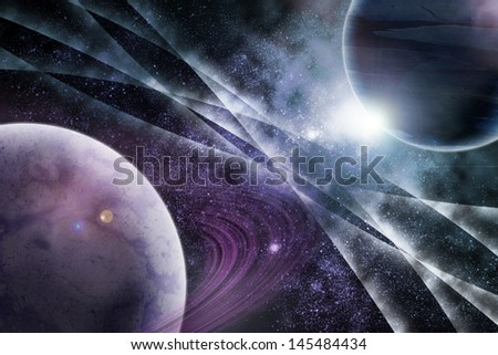 two planets in fantastic space - stock photo