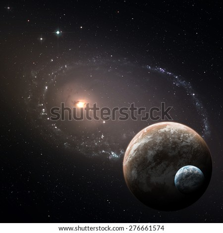 Two planets in the deep space. Elements of this Image Furnished by NASA - stock photo