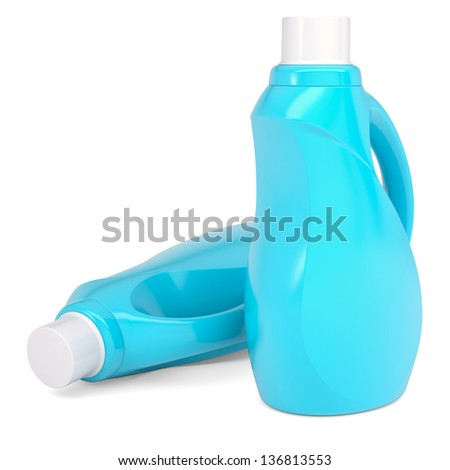 Two plastic bottles of household chemicals. Isolated render on a white background